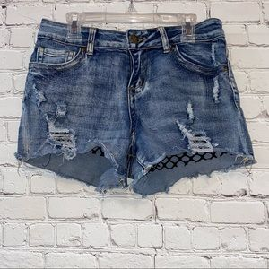 Elite Jeans Distressed Denim Jean Shorts with Lace